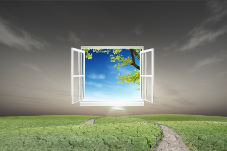 Window open to the new world, for environmental concept and idea Stock Photo - 10785525