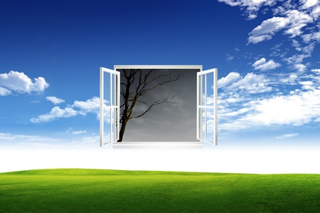 Window open to the new world, for environmental concept and idea Stock Photo - 10785472