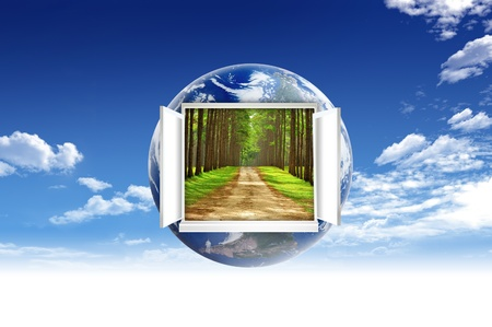 a window on the world: Window open on earth surface to the inside world, for environmental concept and idea Stock Photo