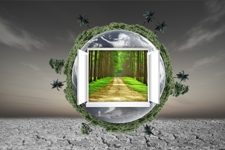 Window open on earth surface to the inside world, for environmental concept and idea photo