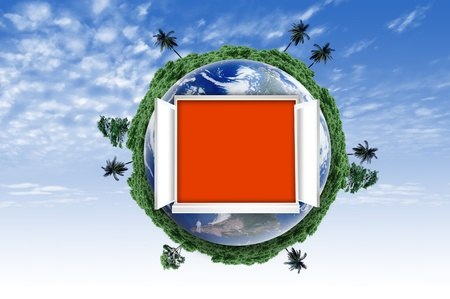 Window open on earth surface to the inside world, for environmental concept and idea Stock Photo - 10785459