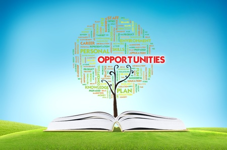 Book AND GROWING word cloud TREE for business concept Stock Photo - 11071413
