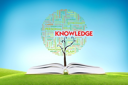 knowledge tree: Book AND GROWING word cloud TREE for business concept