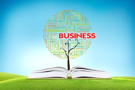Book AND GROWING word cloud TREE for business concept photo