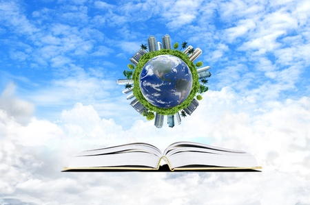 Book with cloud and earth  - education concept Stock Photo
