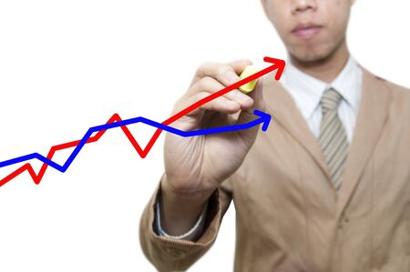 busines: Busines man draw outlines chart in virtual space Stock Photo