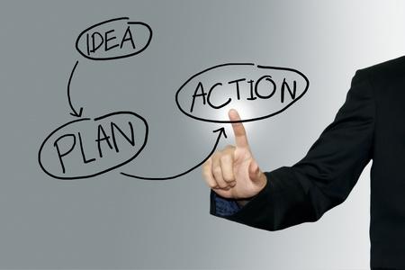 plan de accion: Hombre de negocios que apunta el plan de negocios en el fondo de la pantalla Foto de archivo