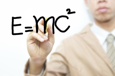 Business man draw formula on the screen background   photo