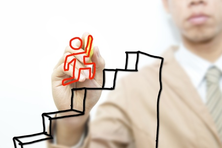 upstairs: Business man drawing career on the screen background Stock Photo