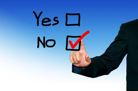 Business man draw diagram on the screen background,yes or no decision photo