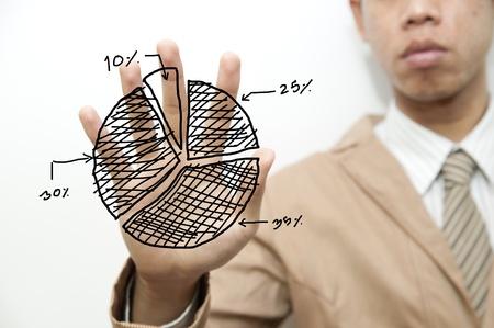 tendencja: Biznes dotykając wykres kołowy