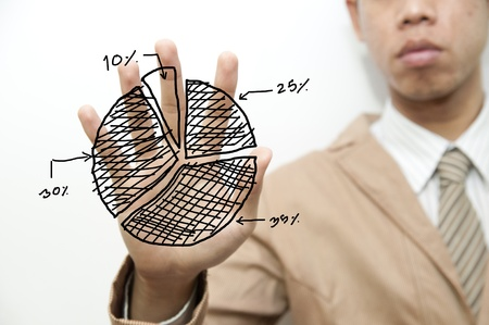 Business touching pie graph