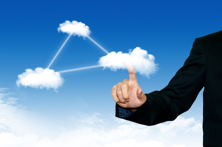 Business man pointing on the cloud, for colud computing concept and business photo