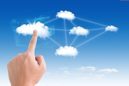 cloud transfer: Business man pointing on the cloud, for colud computing concept and business