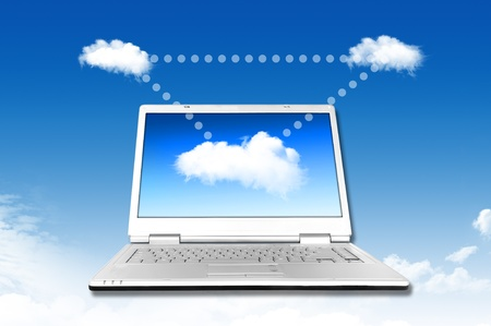 Laptop on the cloud, for colud computing concept and business Stock Photo - 11071485