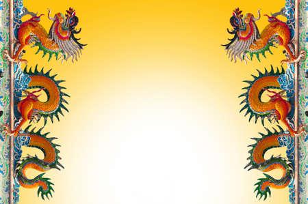 Yellow Dragon on blue sky background photo