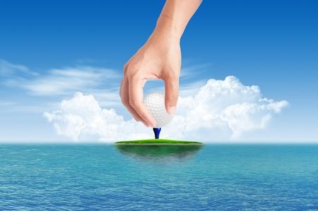 putter: Golf ball on Tropical green island