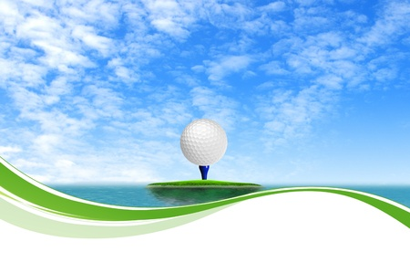 golfing: Golf ball on Tropical green island