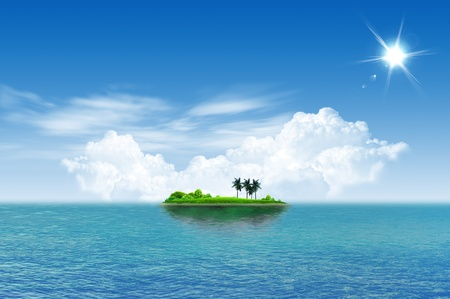 열대 녹색 섬