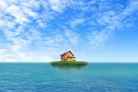 panoramic business: House on green field landscape with blue sky and sea island
