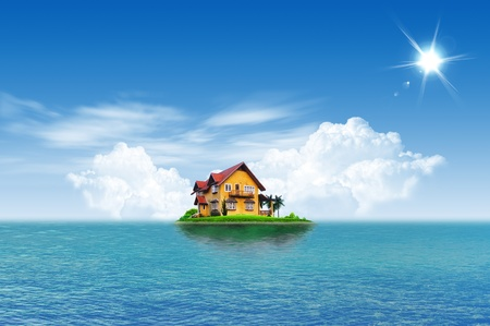 House on green field landscape with blue sky and sea island photo