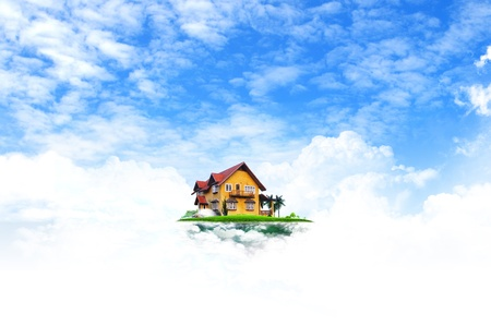 large house: House on green field landscape with blue sky Stock Photo