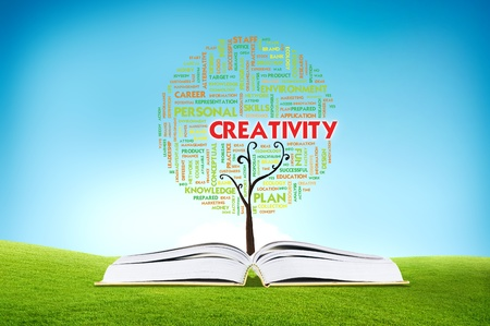 Book AND GROWING word cloud TREE for business concept, education Stock Photo - 11071363