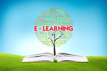 Book AND GROWING word cloud TREE for business concept, education Stock Photo - 11071361