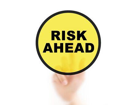 avoid: Finger pointing RISK, for risk management concept Stock Photo