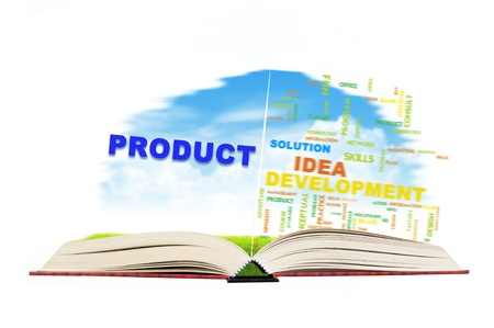 product design: Open magic book with business development word Stock Photo