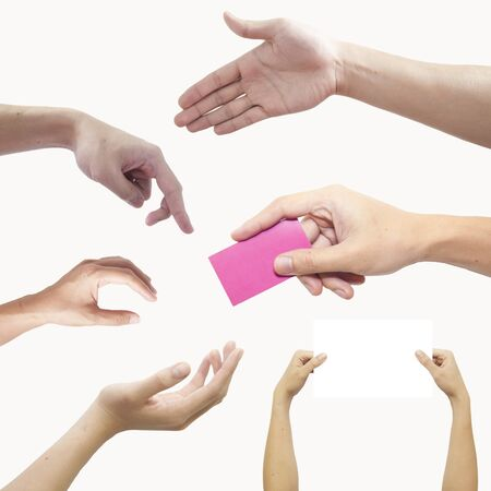 pinch: Set of many hands isolated over white background Stock Photo