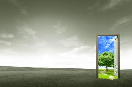 open doorway: Door open on green field for environmental concept and idea
