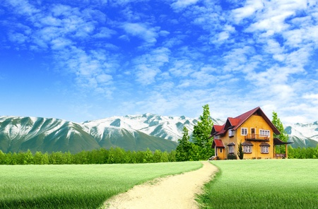 Road to House on green field landscape with blue sky photo