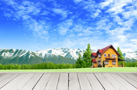 veranda: Wooden terrace and window looking out over a new world Stock Photo