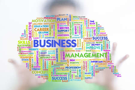 Business man with business word cloud on the screen, business concept Stock Photo - 11568583