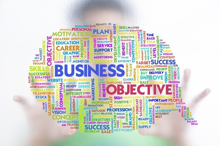 Business man with business word cloud on the screen, business concept photo