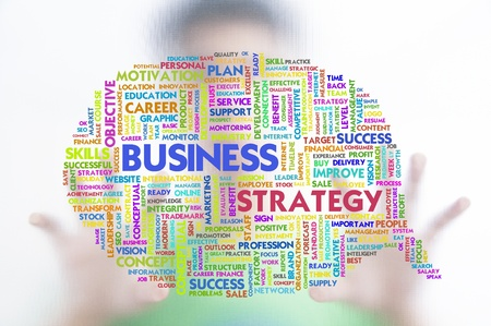 higher education: Business man with business word cloud on the screen, business concept Stock Photo
