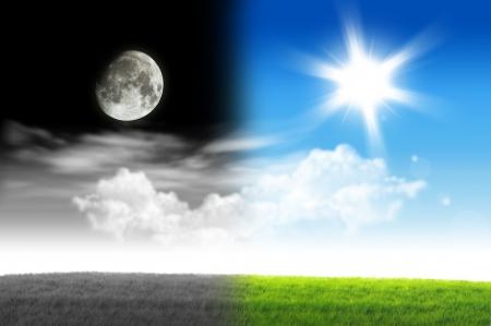 dia y noche: Mano con el d�a y la noche concepto