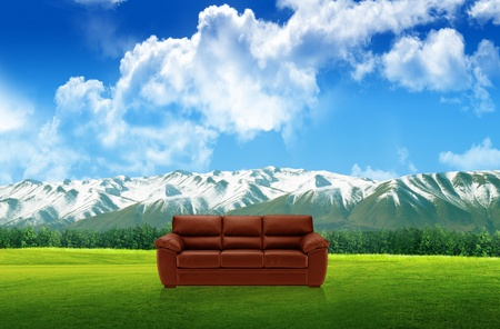 Red sofa on a green landscape Stock Photo - 11568651
