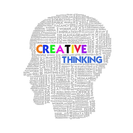 thesis: Word cloud business concept inside head shape, idea and creative Stock Photo
