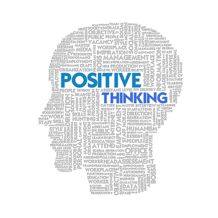 positive thinking: Word cloud business concept inside head shape, idea and creative Stock Photo