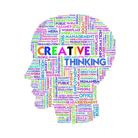 theorem: Word cloud business concept inside head shape, idea and creative Stock Photo