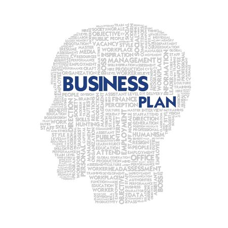 Word cloud business concept inside head shape photo
