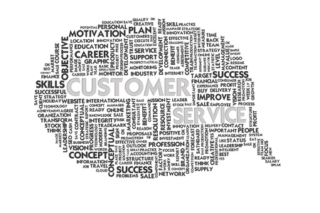 employee satisfaction: Business word inside speech bubble, customer focus Stock Photo