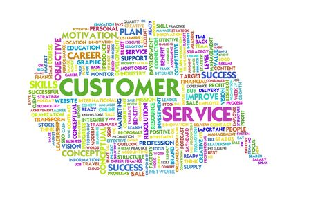 customer focus: Business word inside speech bubble, customer service Stock Photo