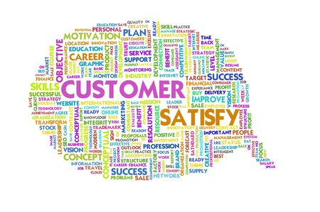 caption: Business word inside speech bubble, customer focus Stock Photo