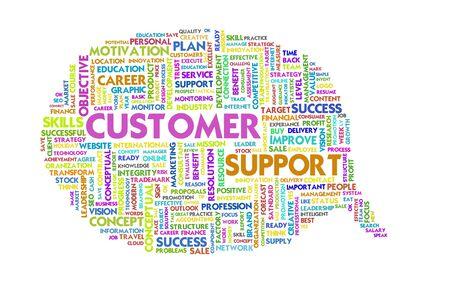 specifying: Business word inside speech bubble, customer focus Stock Photo