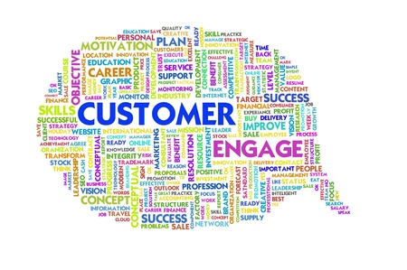 employee satisfaction: Business word inside speech bubble, customer service Stock Photo
