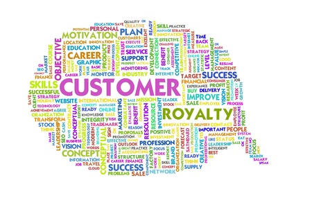 customer focus: Business word inside speech bubble, customer focus Stock Photo