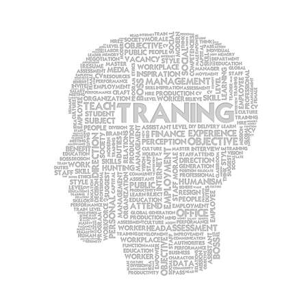 Word cloud business concept inside head shape, learn and education photo